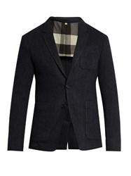 Burberry Single Breasted Wool Herringbone Blazer Navy