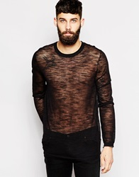Asos Jumper In Sheer Knit Black