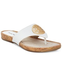 Rialto Calista Thong Flat Sandals Women's Shoes White