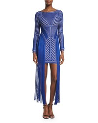 Herve Leger Long Sleeve Fringed Waist Bandage Dress Sapphire Combo