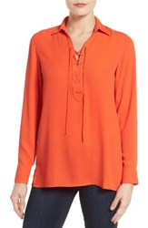 Foxcroft Women's Lace Up Placket Blouse Fire