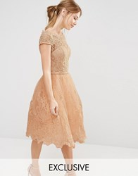 Chi Chi London Premium Lace Midi Prom Dress Peach Blush Pink