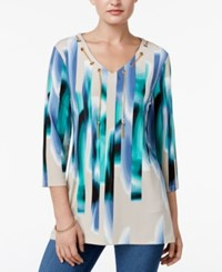 Jm Collection Printed Chain Neck Tunic Only At Macy's Swirl Stripe