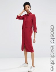 Asos Tall Midi Shirt Dress With Asymmetric Frill Maroon Red