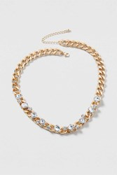 Topshop Chain And Rhinestone Necklace Clear