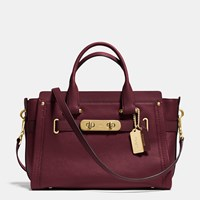 Coach Swagger Carryall In Nubuck Pebble Leather Light Gold Burgundy
