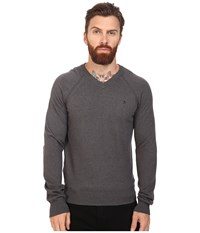 Original Penguin Long Sleeve V Neck Pima Cotton Sweater Dark Slate Men's Sweater Gray