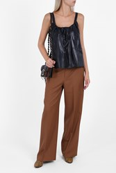 Helmut Lang Women S High Waist Twill Trousers Boutique1 Brown