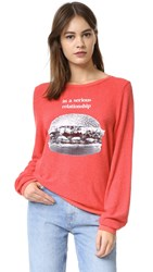 Wildfox Couture Hearts Eyes Baggy Beach Sweatshirt Poppy Red