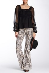 Free People Paradise Printed Flared Linen Blend Pant Gray