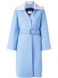Maison Martin Margiela Knitted Collar Belted Coat Blue