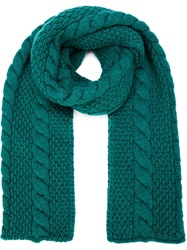 Umit Benan Cable Knit Scarf Green