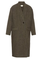 Etoile Isabel Marant Henley Virgin Wool Tweed Coat Grey Multi