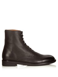 Maison Martin Margiela Grained Leather Lace Up Ankle Boots Black