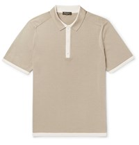 Berluti Slim Fit Contrast Trimmed Knitted Silk And Cotton Blend Polo Shirt Mushroom
