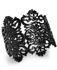 Bar Iii Black Tone Filigree Lace Stretch Bracelet