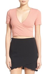 Women's Missguided Rib Wrap Front Crop Top