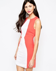 Aryn K Colourblock Dress White