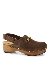 Gucci Amstel Suede Slingback Clogs Brown