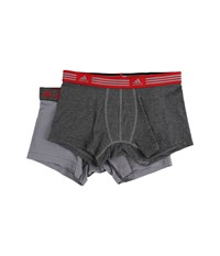 Adidas Athletic Stretch 2 Pack Trunk Marl Heather Black Ray Red Grey Black Ray Red Men's Underwear Gray