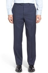 John W. Nordstrom Flat Front Plaid Wool Trousers Blue