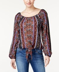 American Rag Printed Tie Front Blouse Only At Macy's Black Combo