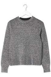 Metallic Crew Neck Jumper By Boutique Metalic Silver