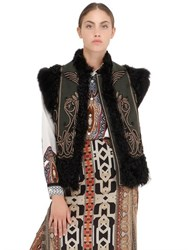 Etro Embroidered Shearling And Wool Vest