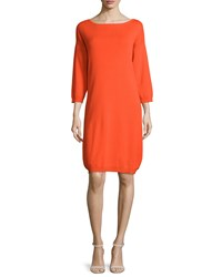 Joan Vass 3 4 Sleeve Cotton Dress Poppy Orange