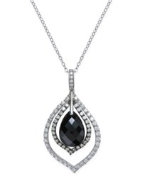 Macy's Onyx 11X16x6 1 2Mm And Cubic Zirconia Pendant Necklace In Sterling Silver Black