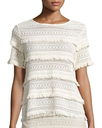 Joie Rafel Short Sleeve Fringed Crochet Top Natural