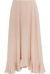 Chloe Ruffled Silk Crepe Maxi Skirt Blush