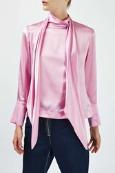 Boutique Satin Tie Blouse By Pink