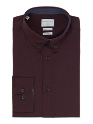 Selected Men's Homme Mark Pinpoint Oxford Shirt Wine