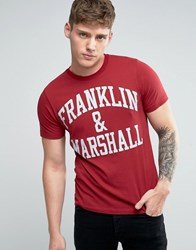 Franklin And Marshall Logo T Shirt Amaranto Red