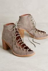Anthropologie Jeffrey Campbell Cors Lace Up Heels Taupe 6 Wedges