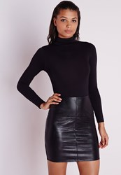 Missguided Faux Leather Mini Skirt Black