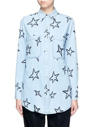 Etre Cecile Oversized Star Embroidered Denim Shirt Blue