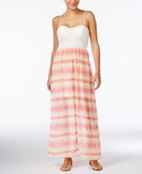 Trixxi Juniors' Crochet Printed Maxi Dress Peach Ivory