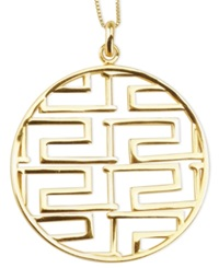 Sis By Simone I Smith 18K Gold Over Sterling Silver Necklace Greek Key Design Pendant