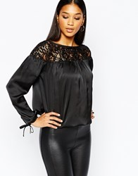 Lipsy Lace Top Blouse With Tie Detail Sleeve Black