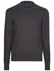 Hackett London Cotton Silk Cashmere V Neck Jumper Brown