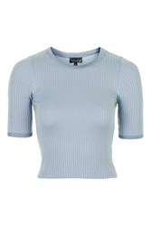 Topshop Half Sleeve Cropped Knit Tee Pale Blue