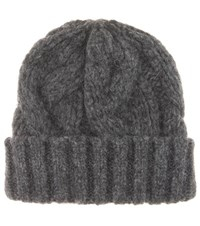 Ganni Brooks Knitted Baby Alpaca Blend Beanie Grey