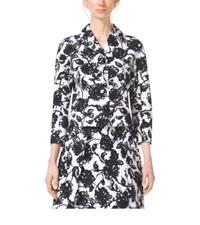 Michael Kors Brushstroke Floral Matelasse Cropped Jacket Optic White Blk
