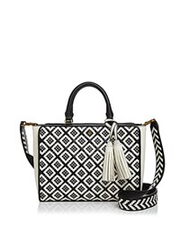 Tory Burch Robinson Zip Small Woven Quilted Satchel Black New Ivory