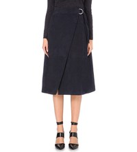 Whistles Wrap Style Suede Skirt Navy