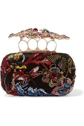 Alexander Mcqueen Embellished Tulle And Satin Box Clutch Black