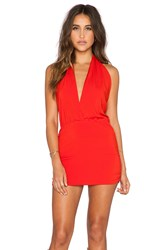 Indah Joey Deep V Halter Dress Red