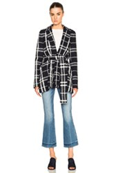 Derek Lam 10 Crosby Wrap Jacket In Blue Checkered And Plaid Blue Checkered And Plaid